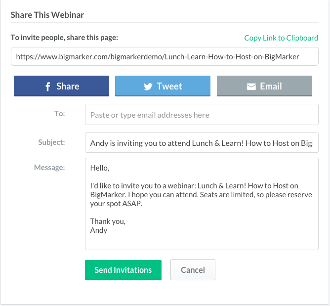 Sending Email Invites For Your Event Or Webinar BigMarker